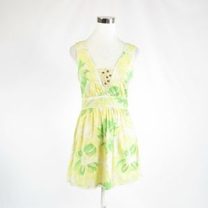 Free People light yellow green floral dress 4